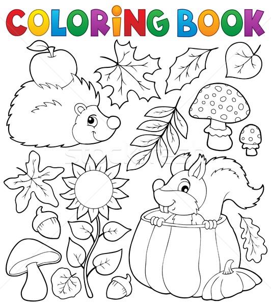 Boyama Kitabi Sonbahar Doga Cicek Kitap Boya Vektor