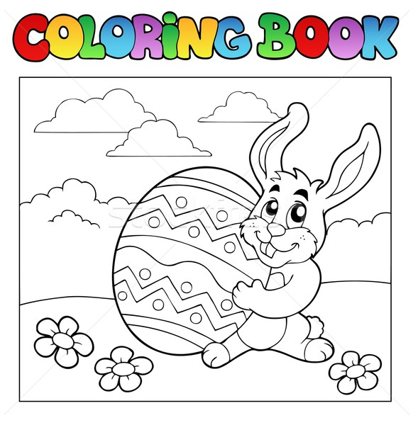 Stock photo: Coloring book with Easter theme 1