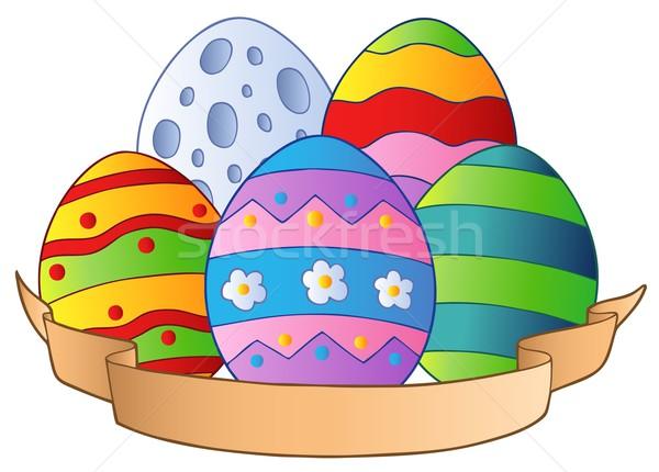 Húsvéti tojások szalag terv festék tojás művészet Stock fotó © clairev