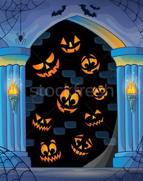 Parede halloween tópico arte castelo faces Foto stock © clairev
