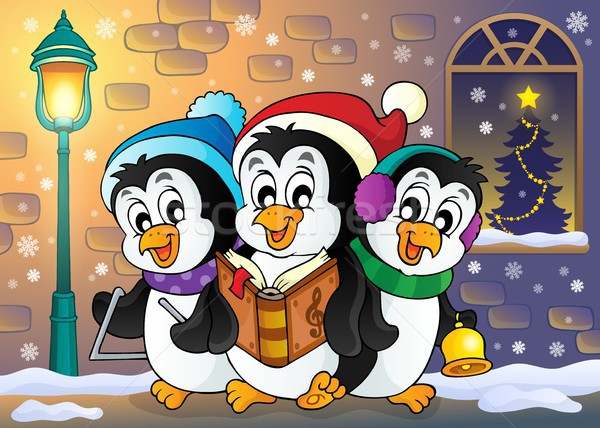 Рождества изображение книга окна искусства птиц Сток-фото © clairev