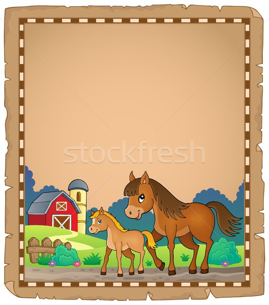 Horse with foal theme parchment 1 Stock photo © clairev
