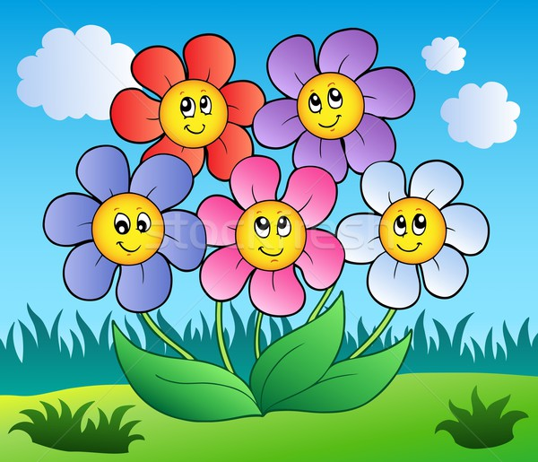 Five cartoon flowers on meadow Stock photo © clairev