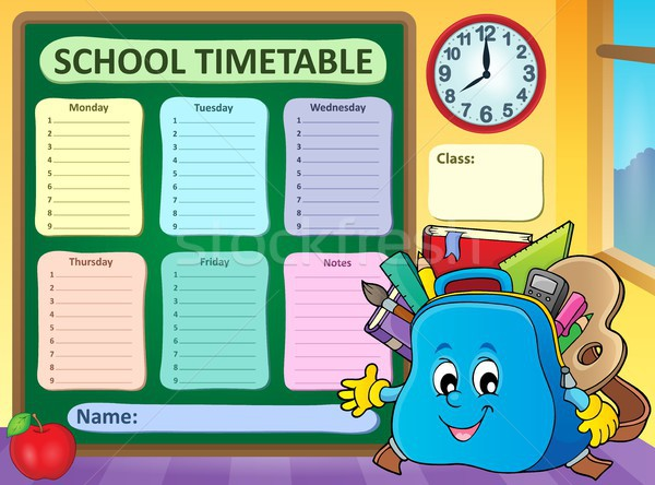 Weekly school timetable template 5 Stock photo © clairev