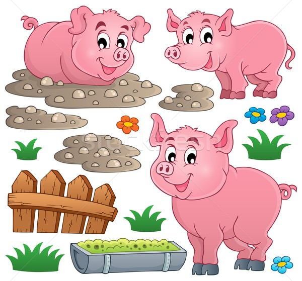 Porco coleção sorrir arte animal sorridente Foto stock © clairev