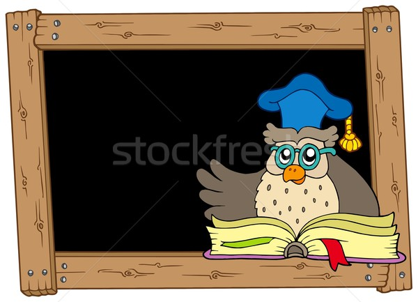 Stock photo: Wooden blackboard with owl teacher