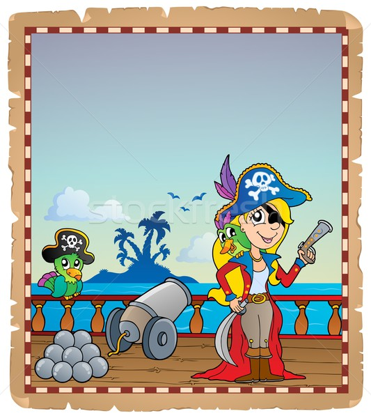 Parchment with pirate ship deck 4 Stock photo © clairev
