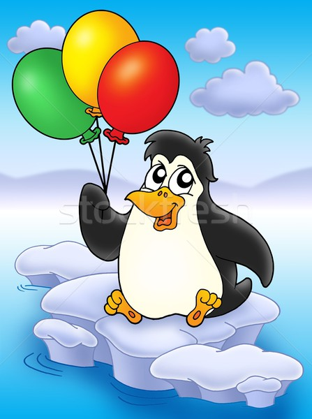 Pingouin ballons iceberg couleur illustration ciel Photo stock © clairev