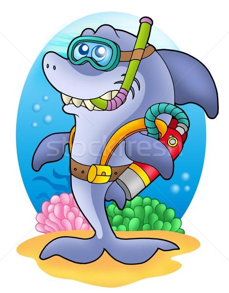 Shark scuba diver on sea bottom Stock photo © clairev