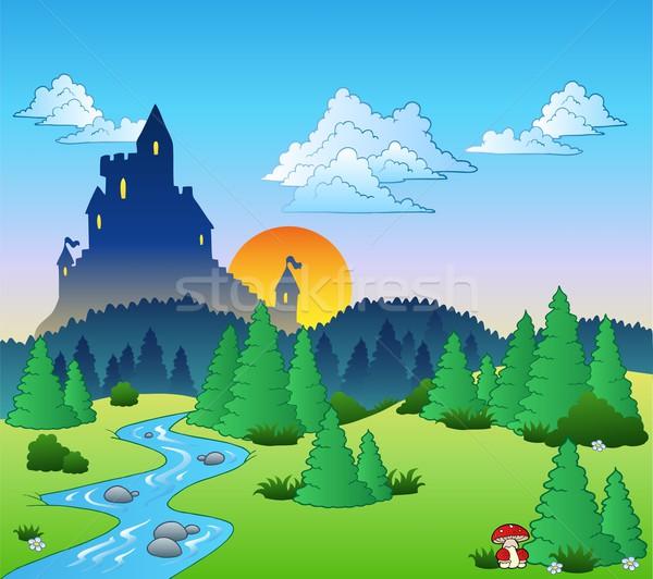 おとぎ話 風景 水 ツリー 木材 森林 ストックフォト © clairev