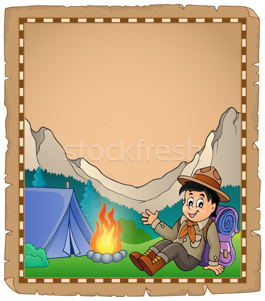Parchment with scout boy in mountain Stock photo © clairev