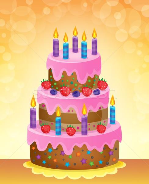 именинный торт изображение продовольствие вечеринка свет рождения Сток-фото © clairev