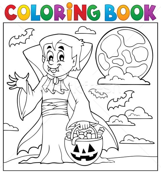 Kolorowanka halloween wampira książki farby jesienią Zdjęcia stock © clairev