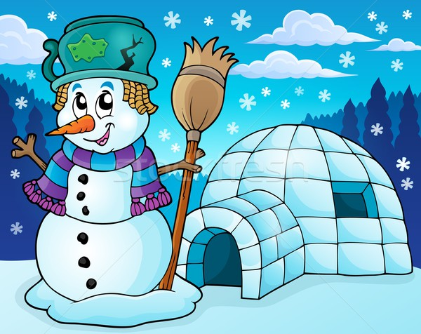 Igloo with snowman theme 2 Stock photo © clairev