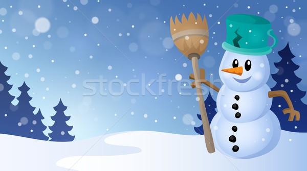 Tél hóember téma kép mosolyog ág Stock fotó © clairev