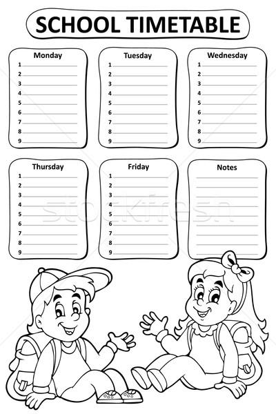 Black and white school timetable theme 4 Stock photo © clairev