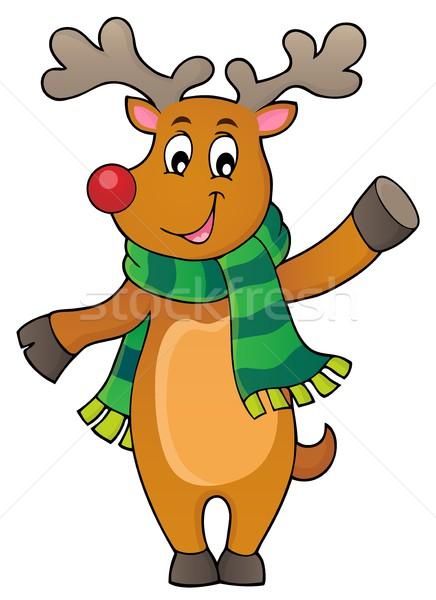 Stilizált karácsony szarvas kép boldog művészet Stock fotó © clairev