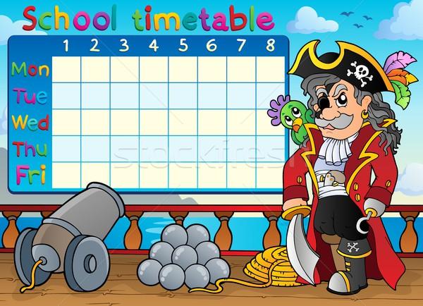 School dienstregeling piraat schip oceaan tabel Stockfoto © clairev