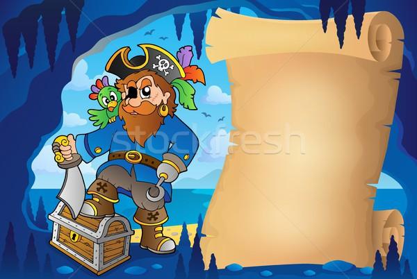 Perkament piraat grot afbeelding water man Stockfoto © clairev