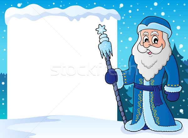 Snowy frame with Father Frost Stock photo © clairev
