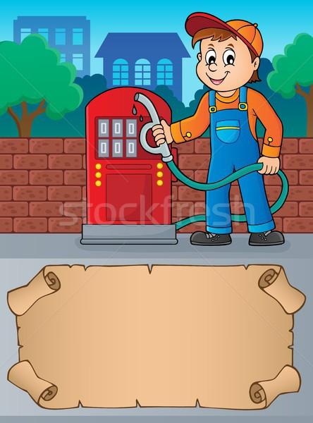 Pequeno pergaminho posto de gasolina trabalhador negócio papel Foto stock © clairev