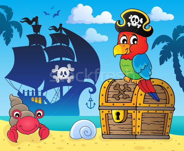 Pirate parrot on treasure chest topic 3 Stock photo © clairev