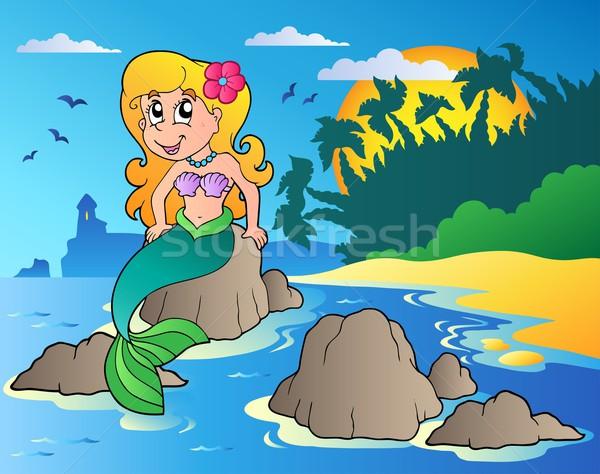 морской пейзаж Cartoon русалка улыбка женщины морем Сток-фото © clairev