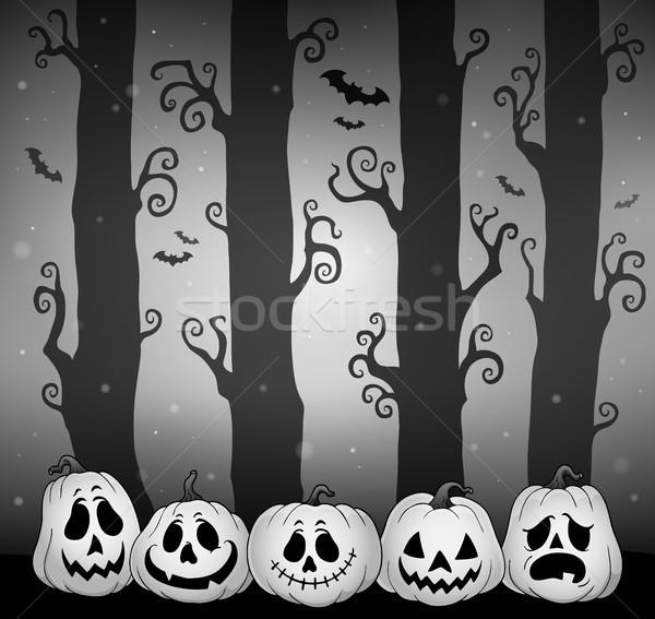 Stock fotó: Halloween · erdő · kép · fa · fény · éjszaka