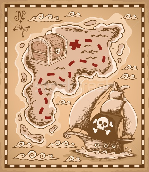 Карта сокровищ изображение искусства лодка ретро документа Сток-фото © clairev