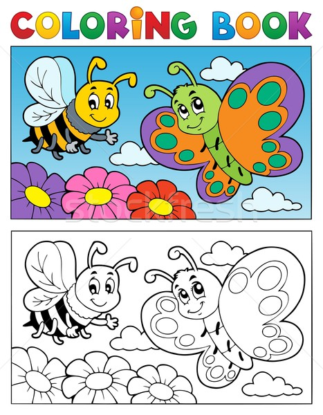 Coloring book butterfly theme 2 Stock photo © clairev