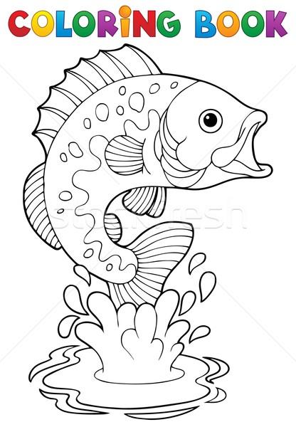 Libro para colorear de agua dulce libro peces naturaleza Foto stock © clairev