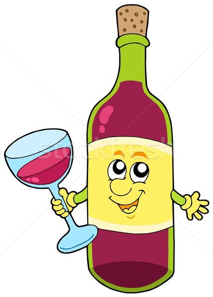 Сток-фото: Cartoon · бутылку · вино · стороны · лице · глазах