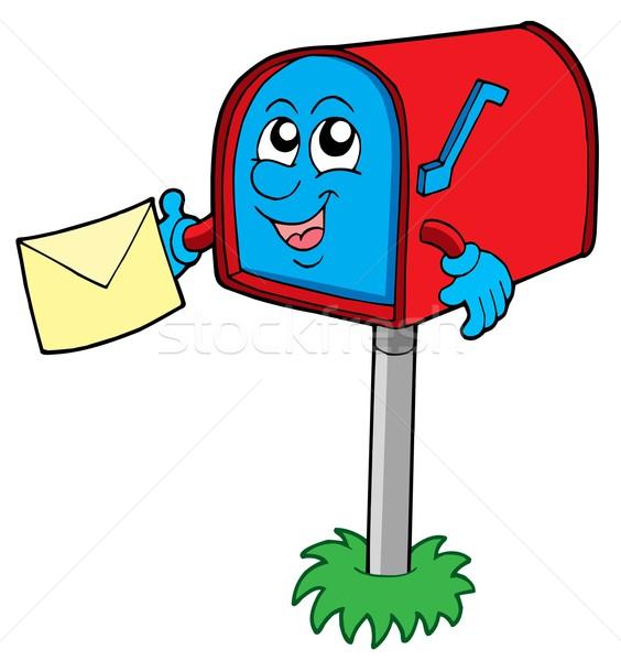 メールボックス 手紙 笑顔 草 メール 赤 ストックフォト © clairev