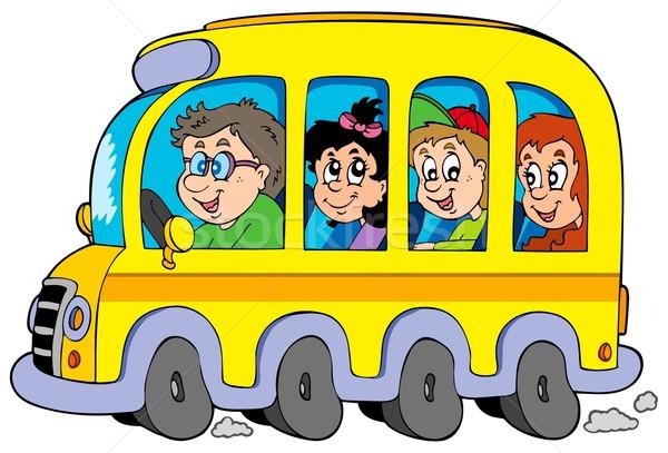 Rajz iskolabusz gyerekek iskola boldog gyermek Stock fotó © clairev