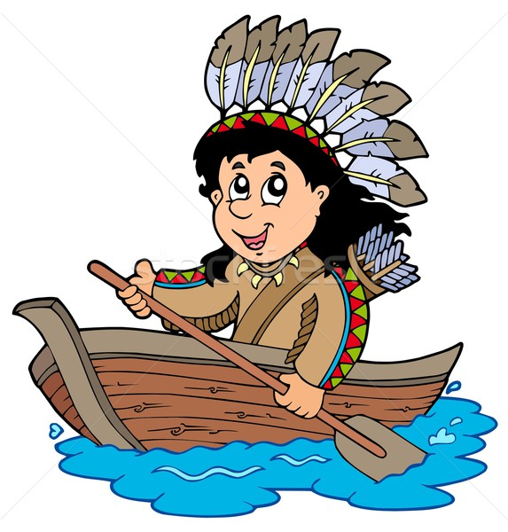 Indian in wooden boat Stock photo © clairev