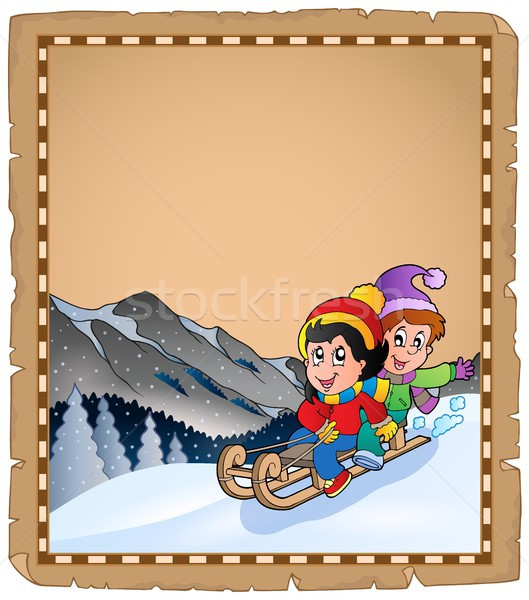 Parchment with children on sledge Stock photo © clairev