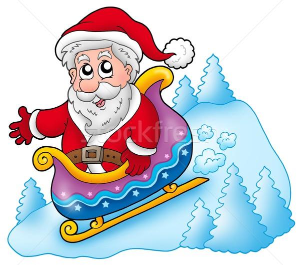 Happy Santa Claus on sledge Stock photo © clairev
