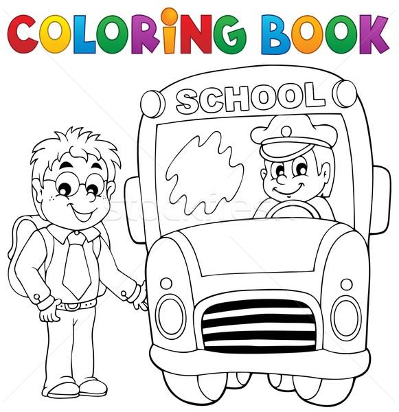 Kifestőkönyv iskolabusz mosoly könyv férfi diák Stock fotó © clairev