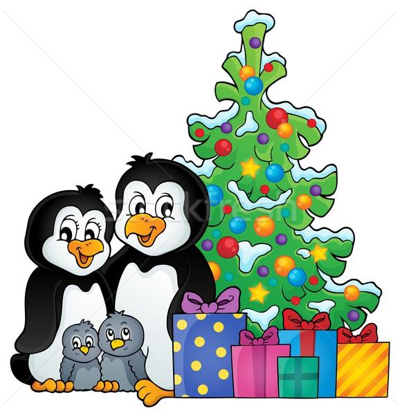Stock photo: Penguin family Christmas theme 1