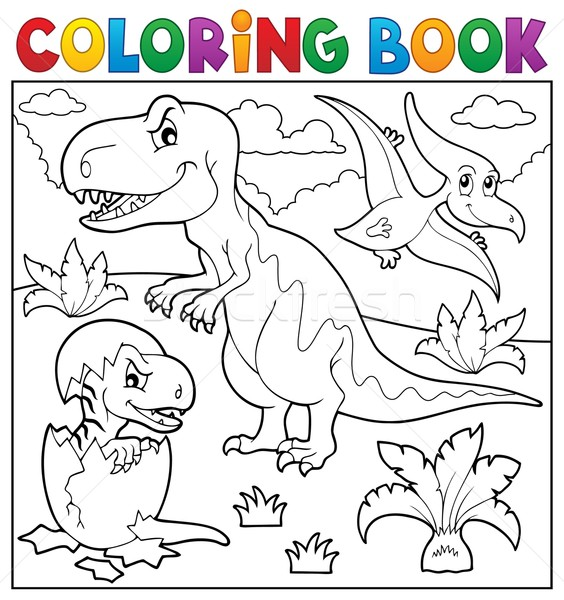 Coloring book dinosaur topic 9 Stock photo © clairev
