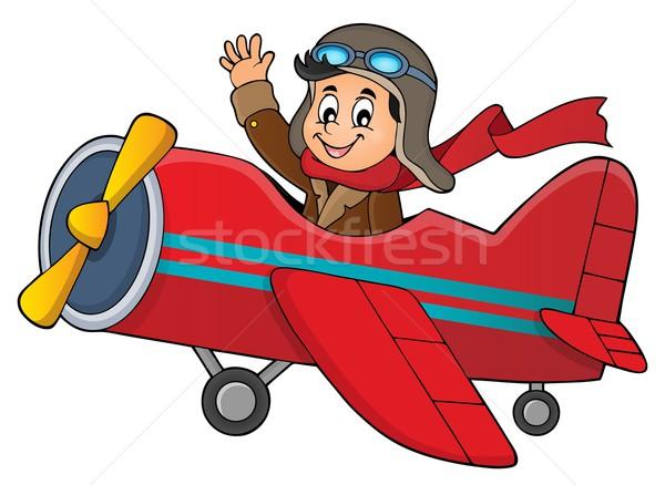 Pilot in retro airplane theme image 1 Stock photo © clairev