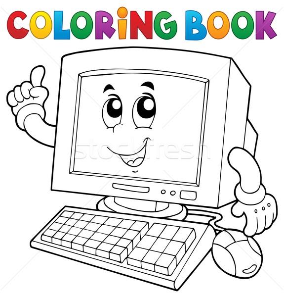 Libro da colorare computer mani libro faccia design Foto d'archivio © clairev