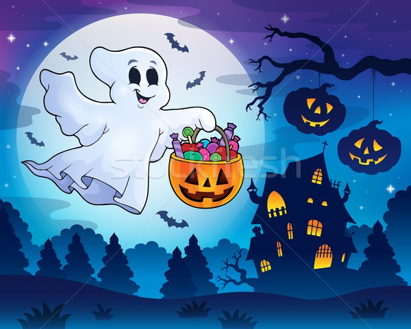 Halloween ghost near haunted house 3 Stock photo © clairev