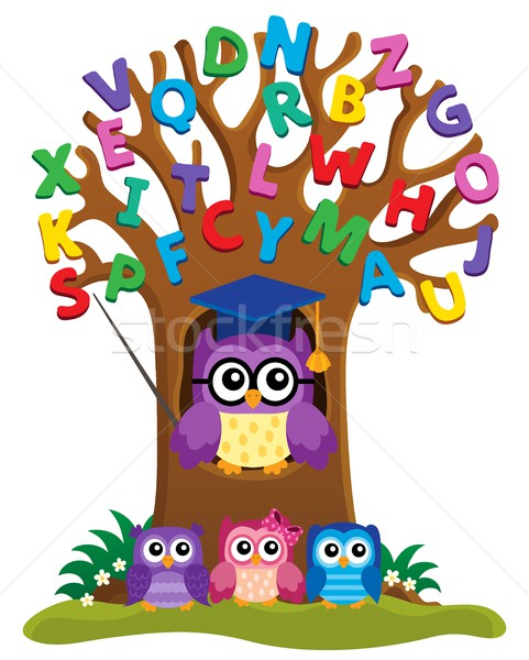 Tree with stylized school owl theme 3 Stock photo © clairev