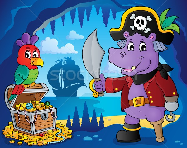 Pirate hippo theme 4 Stock photo © clairev