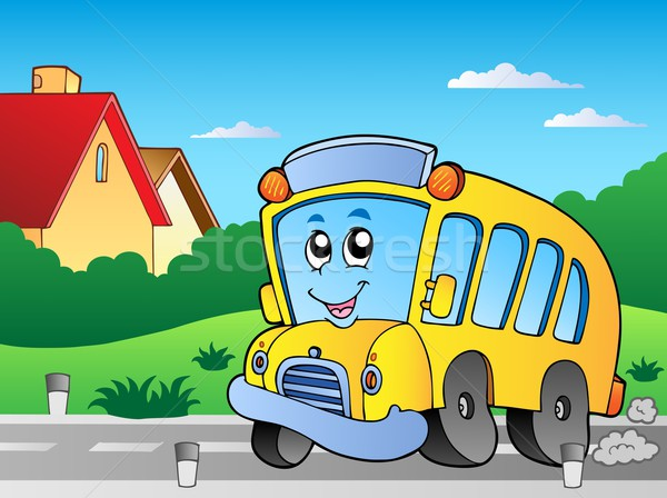 Road with school bus 2 Stock photo © clairev