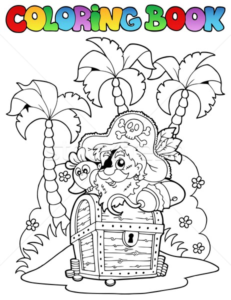 Coloring book with pirate topic 1 Stock photo © clairev