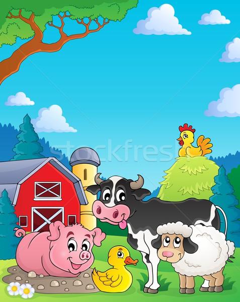 Animais de fazenda imagem edifício feliz arte verão Foto stock © clairev