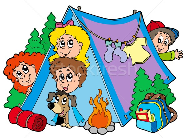 Group of camping kids Stock photo © clairev