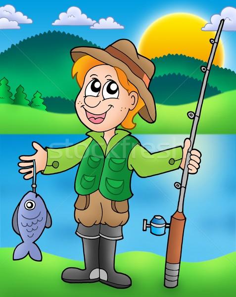 Cartoon pescador peces color ilustración manos Foto stock © clairev